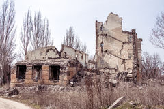Ruined school building Royalty Free Stock Images