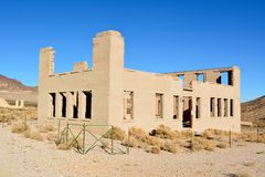 Ruined school building in Rhyolite ghost town royalty free stock images