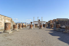 Ruined site of Basilica in Pompeii. Royalty Free Stock Image