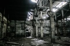 Ruined soviet factory royalty free stock image