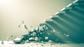 Ruined staircase as background 3d illustration Stock Image