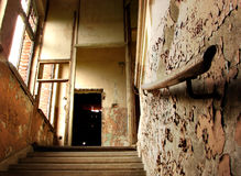 Ruined stairs and handrail Stock Image