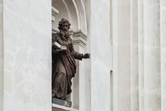Saint Peter and Paul Cathedral in Lutsk, Ukraine. Ruined statue of Saint Paul on the facade of the Saint Peter and Paul Cathedral in Lutsk, Ukraine royalty free stock images