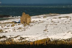 Ruined stone church. Dalkey island. Dublin. Ireland. Offshore island with the ruins of an old church and a martello tower. county Dublin. Ireland Stock Photography