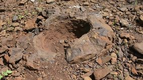 Ruined stone formation resembling a form of dinosaur eggs have been found near the village of Wet Olhovka Kotovo District. Volgograd Region, Russia stock footage