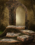Ruined stone shrine. Ruins of an ancient shrine in an old forest Royalty Free Stock Photo