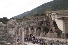 The ruined street in Ephesus Stock Photo