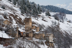 Ruined svaneti houses Royalty Free Stock Photography