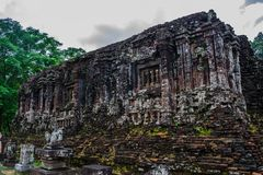 Ruined temple of the ancient Champa in My Son, Quang Nam, Vietnam. Royalty Free Stock Photo
