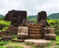 Ruined temple of the ancient Champa in My Son, Quang Nam, Vietnam. Royalty Free Stock Photos
