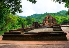 Ruined temple of the ancient Champa in My Son, Quang Nam, Vietnam. Royalty Free Stock Images