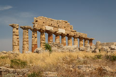 Ruined temple in the ancient city of Selinunte, Sicily Royalty Free Stock Images