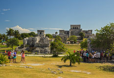 Ruined Temple in ancient Mayan city, Mexico. The most famous building of archaeological site Tulum, Mexico Royalty Free Stock Images