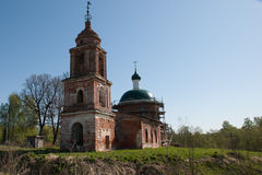Ruined temple. Ined temple in Kaluzhskkoy area. Fedotovo village Stock Image