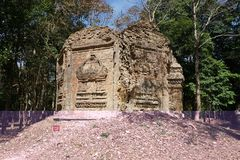 A ruined temple at Prasat Yeah Puon in Sambor Prei Kuk in Cambodia. Kampong Thom, Cambodia-January 12, 2019: A ruined temple at Prasat Yeah Puon in Sambor Prei royalty free stock images