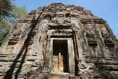 A ruined temple at Prasat Yeah Puon in Sambor Prei Kuk in Cambodia. Kampong Thom, Cambodia-January 12, 2019: A ruined temple at Prasat Yeah Puon in Sambor Prei royalty free stock photography