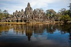 Ruined Temple reflecting from Rippling pond Royalty Free Stock Photography