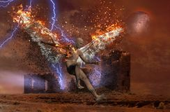 Ruined temple. Surreal digital art. Lightning strikes spooky ruins. Naked man with burning wings symbolizes fallen angel. Human elements were created with 3D Stock Photos