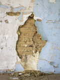Ruined 18th c. Plaster Wall Showing Riven Lath and Mud Infill Royalty Free Stock Photography