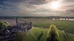 Duckett`s Grove, county Carlow. Ireland. Ruined 19th century Georgian Gothic country house at sunset. county Carlow. Ireland royalty free stock image