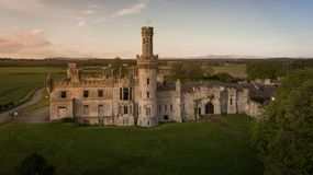 Duckett`s Grove, county Carlow. Ireland. Ruined 19th century Georgian Gothic country house at sunset. county Carlow. Ireland stock photography