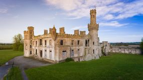Duckett`s Grove, county Carlow. Ireland. Ruined 19th century Georgian Gothic country house at sunset. county Carlow. Ireland stock photo