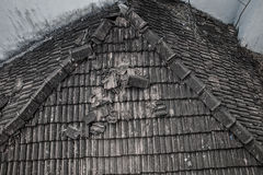 Ruined tile roof. Of an old rural house Stock Photography
