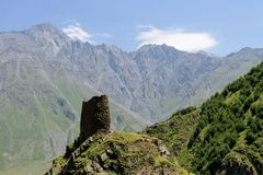 A ruined tower in the mountains royalty free stock photos