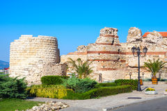 Ruined tower and stone walls around Nessebar, Bulgaria Stock Photo
