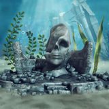 Ruined underwater statue Royalty Free Stock Photography