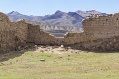 Ruined Wall in Mountain Landscape Stock Image
