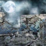 Ruined wall at night Stock Photo