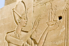Ruined wall reliefs of Pharoah, Karnak, Egypt. Stock Photos