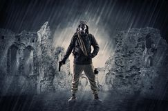 Ruined wallpaper with hazard man Royalty Free Stock Photo