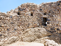 Ruined walls of ancient castle in Calatabiano stock photo
