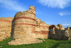 Ruined walls around the old Nessebar town, Bulgaria Royalty Free Stock Images