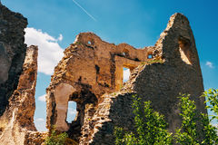Ruined walls Lietava Castle in Slovakia Stock Images