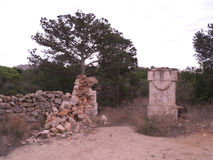 Ruined walls. Old ruins of an estate in the countryside Royalty Free Stock Photography