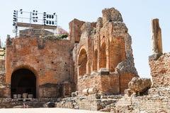 Ruined walls of Teatro antico di Taormina Royalty Free Stock Images