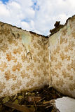 Ruined walls and wallpaper pattern Stock Photos