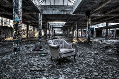 Ruined warehouse interior Stock Images
