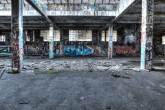 Ruined warehouse interior Royalty Free Stock Image