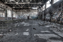 Ruined warehouse interior Stock Photo