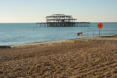 Ruined West Pier at Brighton, Sussex, England Stock Images