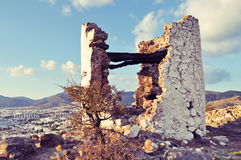 Ruined windmill in Bodrum. Gumbet hill Stock Photo