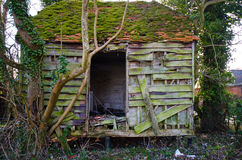 Ruined wooden building. Very old ruined wooden building stock images