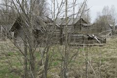 Ruined wooden house. Ruined old wooden house in the village. Old architecture Stock Photos