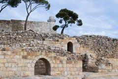 Ruinen auf dem Gebiet des Grabs von Samuel - der Prophet Auch gefunden in Al-Nabi Samuil - palästinensisches Dorf I An-Nabi Samwi Lizenzfreie Stockfotos