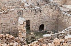 Ruinen auf dem Gebiet des Grabs von Samuel - der Prophet Auch gefunden in Al-Nabi Samuil - palästinensisches Dorf I An-Nabi Samwi Lizenzfreies Stockbild