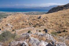Ruinen auf der Akropolise von Korinth Stockfoto